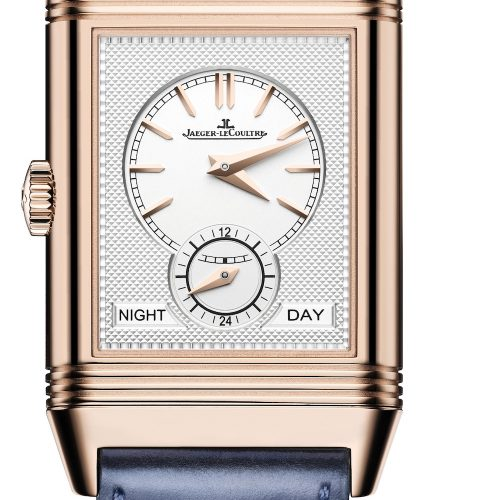 Die Rückseite der Reverso Tribute Duoface von Jaeger-LeCoultre in Rotgold mit Fagliano-Lederband.