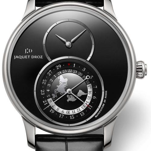 Die Edelstahlversion der Grande Seconde Dual Time mit schwarzem Zifferblatt aus Onyx.
