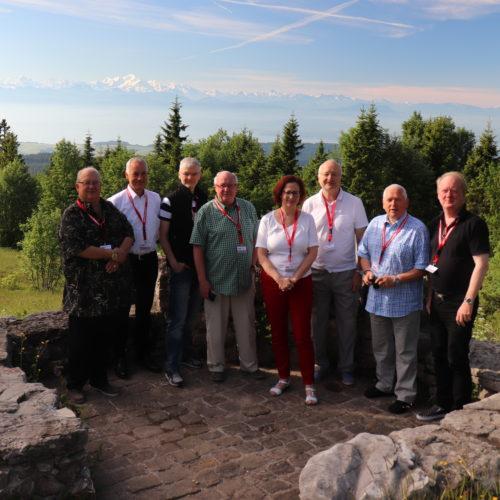 Das Gruppenbild auf der Anreise vor der Kulisse des Montblanc.