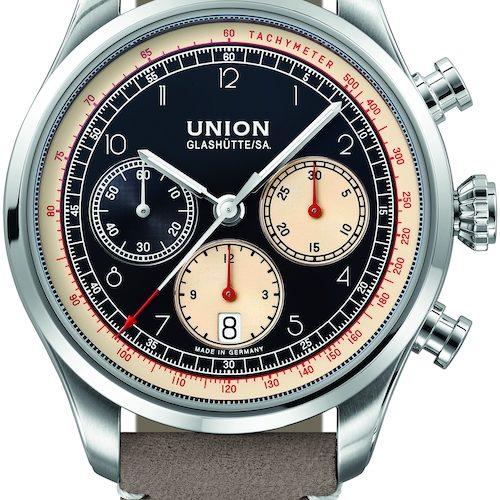 Der Belisar Chronograph von Union Glashütte mit schwarzem Zifferblatt.