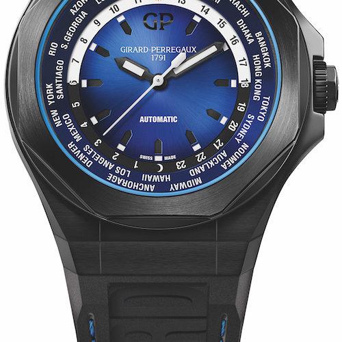 Die Weltzeituhr Laureato WW.TC ist mit einem Verlauf von Blau nach Schwarz versehen.