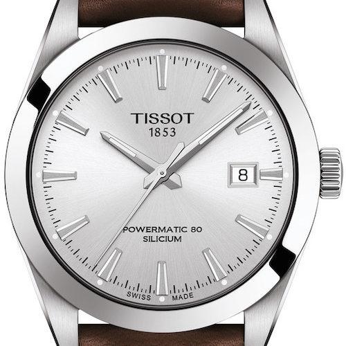 Die Tissot Gentleman Powermatic mit weißem Zifferblatt und Kalbslederband.