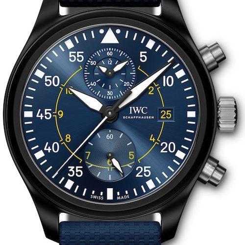 Das IWC Manufakturkaliber 89361 zeigt die gestoppten Stunden und Minuten auf einem gemeinsamen Hilfszifferblatt bei zwölf Uhr an.