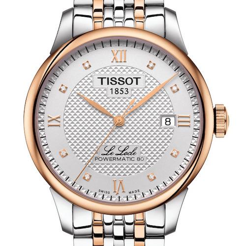 Die Tissot Le Locle Gent in Edelstahl mit roségoldfarbener PVD-Beschichtung und acht Diamantindizes. 690 Euro.